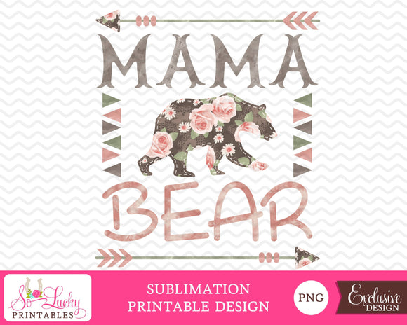 Mama bear watercolor printable sublimation design - Digital download - PNG - Printable graphic design