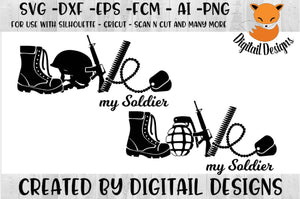 Love My Soldier Army SVG