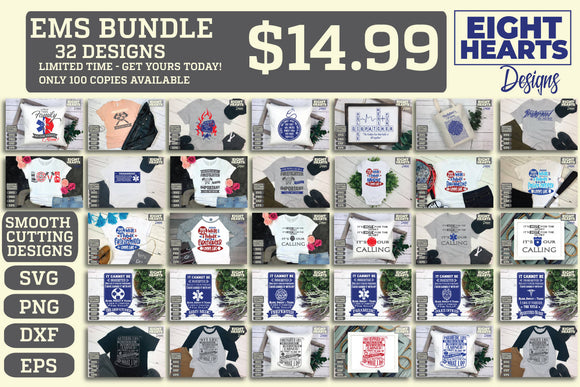 EMS Bundle- Limited Time ONLY - EMS Series - SVG|PNG|EPS|DXF - Cutting, Crafting, Printing, Sublimating, Iron on Transfer DIY