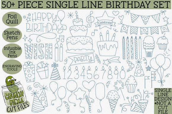 Foil Quill Birthday 50 Piece Bundle / Single Line Sketch