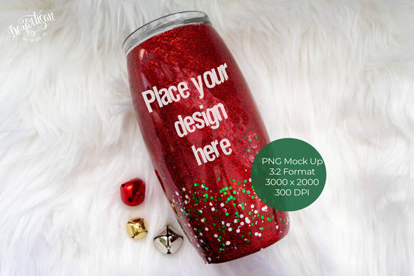 Christmas Red Glitter Tumbler PNG Mock Up