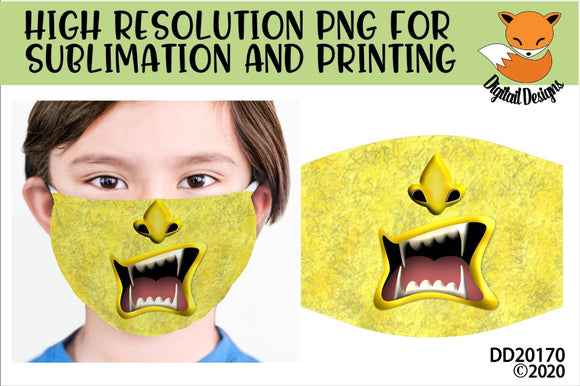 Funny Monster Face Mask Sublimation Design