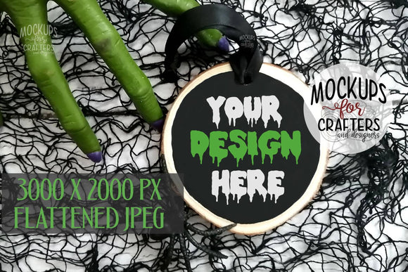 Wood Slice Ornament, Tag Mock-Up, Halloween theme