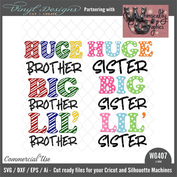 Huge Big Lil' Sister Brother Cut File WG407