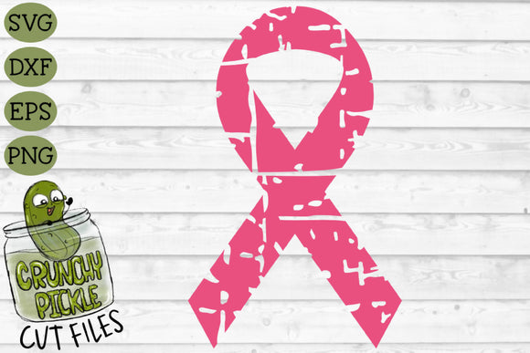 Distressed Breast Cancer Ribbon SVG File