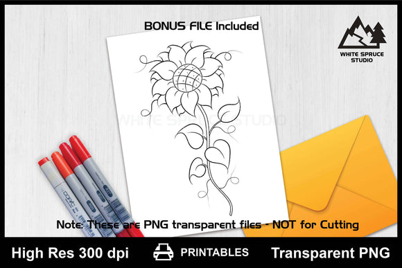 Hand Drawn Whimsical Flower PNG Printable
