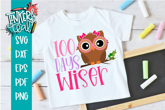 100 Days Wiser Girl SVG