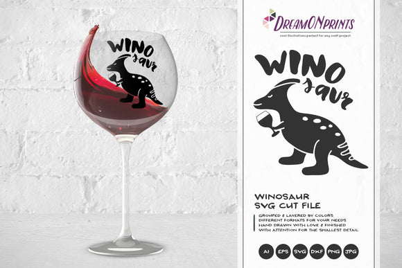 Winosaur SVG - Wine SVG Cut Files