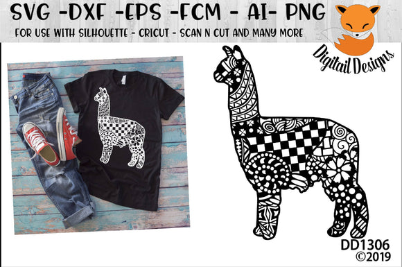Zentangle Alpaca Llama SVG