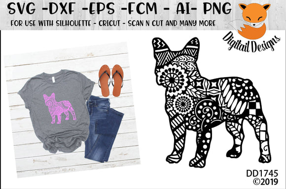 Zentangle French Bulldog SVG