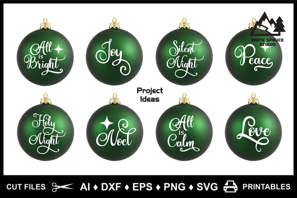Christmas Ornament Sayings Silent Night AI DXF EPS PNG SVG