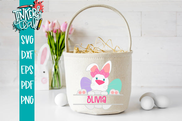 Split Girl Bunny Monogram Basket SVG