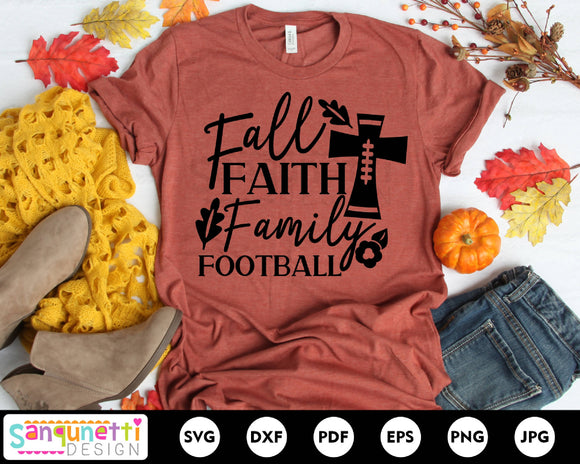 Fall Faith Family Football SVG, autumn cut file, fall saying svg