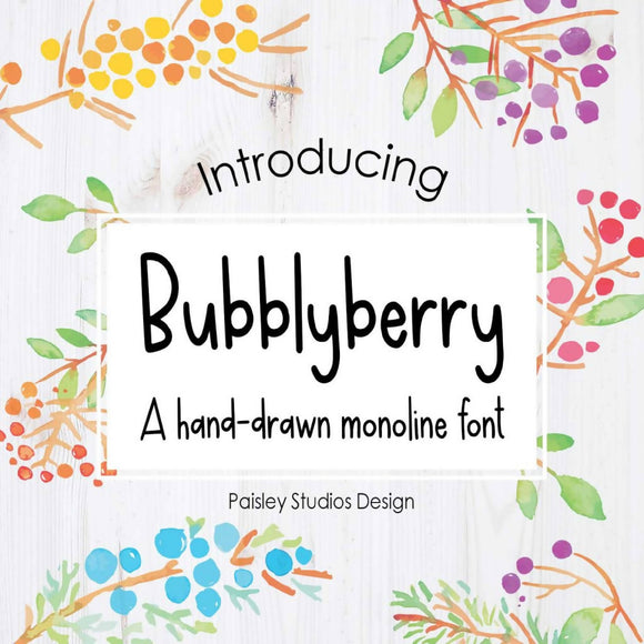 Bubblyberry Hand-Drawn Monoline Font TTF OTF