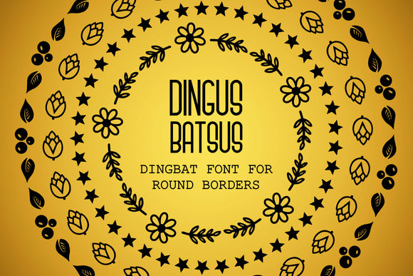 Dingus Batsus, a dingbat font for making round borders