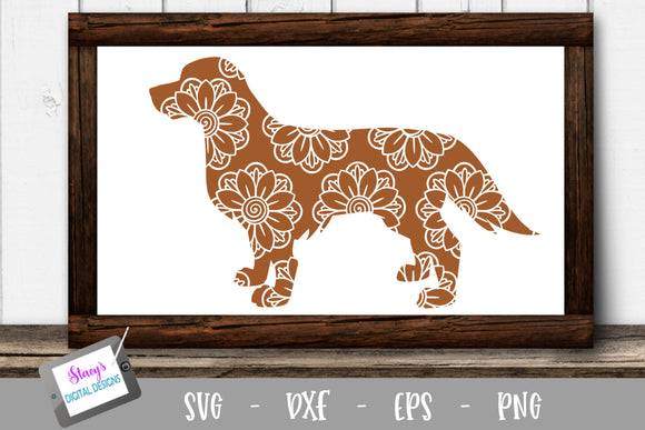 Dog SVG - Labrador Retriever with floral mandala pattern