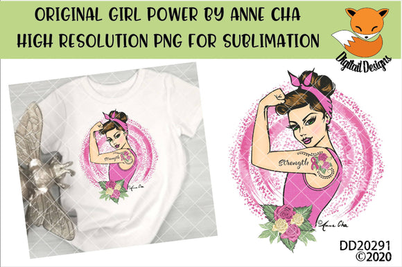 Girl Power By Anne Cha Art Breast Cancer Strength Mastectomy Sublimation Design