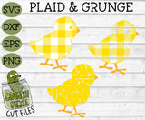 Plaid & Grunge Baby Chick Easter / Spring SVG Cut File