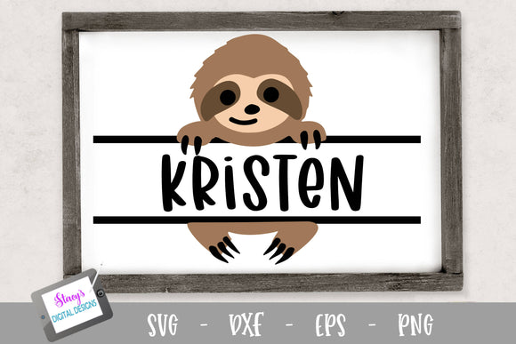 Sloth Split Monogram Design