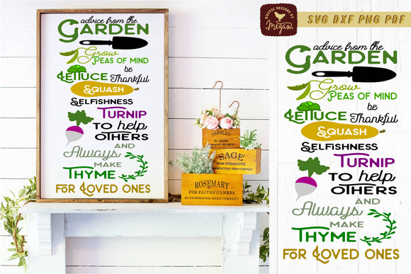 Advice From The Garden Summer Spring Sign SVG DXF