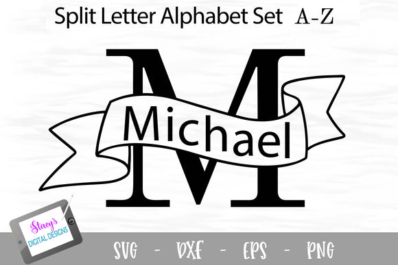 Split Letters A- Z - 26 split monogram SVG files with banners