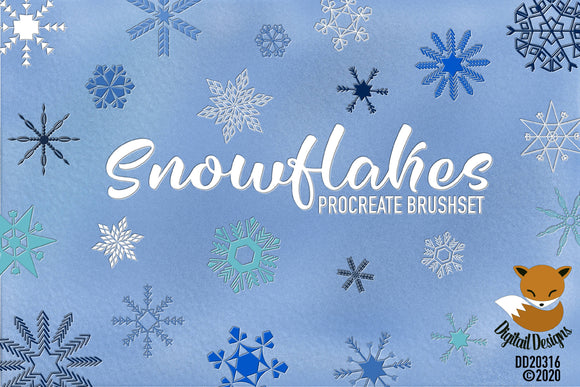 Set of 24 Snowflake Stamp Brushes for Procreate