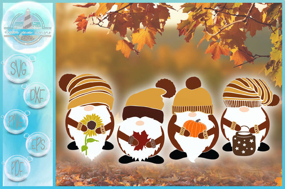 Fall Gnome Pumpkin Sunflower Lantern Leaf SVG