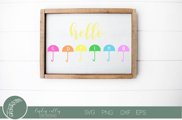 Hello Spring Umbrellas SVG
