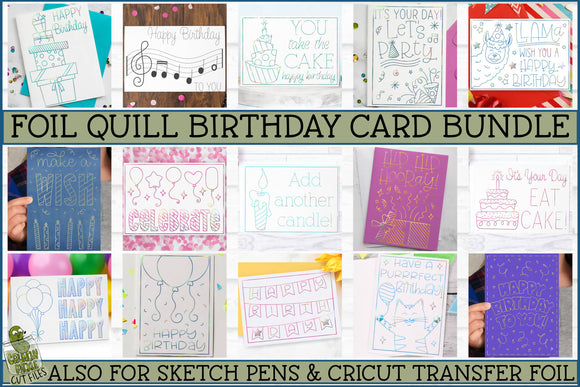 Foil Quill Birthday Card Bundle / Single Line Sketch SVG