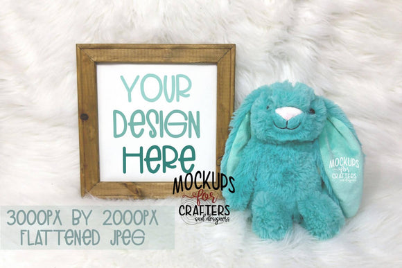 Reverse Canvas Mock-Up with teal dollar store bunny