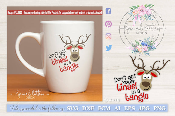 Tinsel In A Tangle Reindeer SVG Cut File