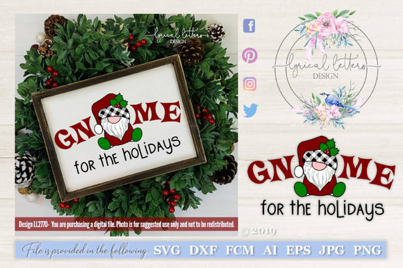 Gnome For the Holidays Santa Gnome SVG Cut File