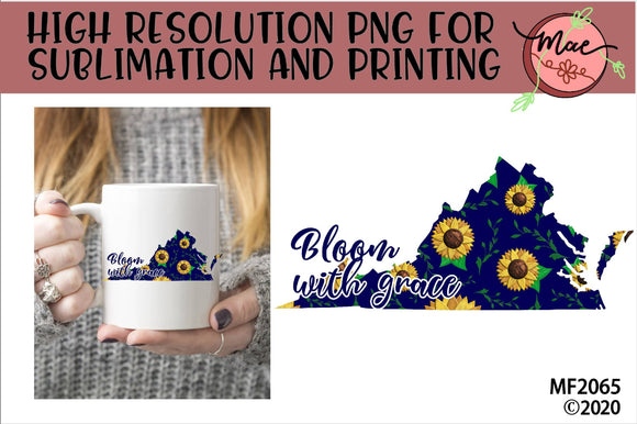 Virginia Sunflower Bloom In Grace Sublimation Design