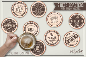 9 cut files for beer coasters with funny quotes