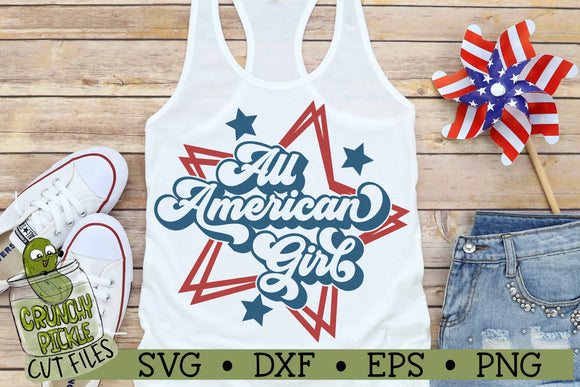 All American Girl Patriotic SVG Cut File