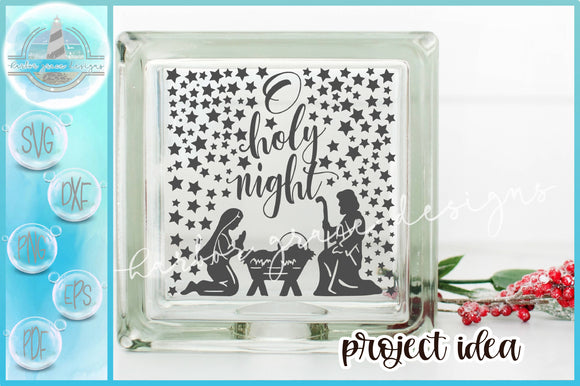 Oh Holy Night Nativity Scene Christmas Glass Block Design SVG