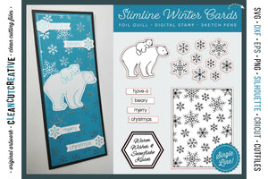 Foil Quill Winter Slimline Card with polar bear mama and cub and snowflakes | Christmas single line sketch files