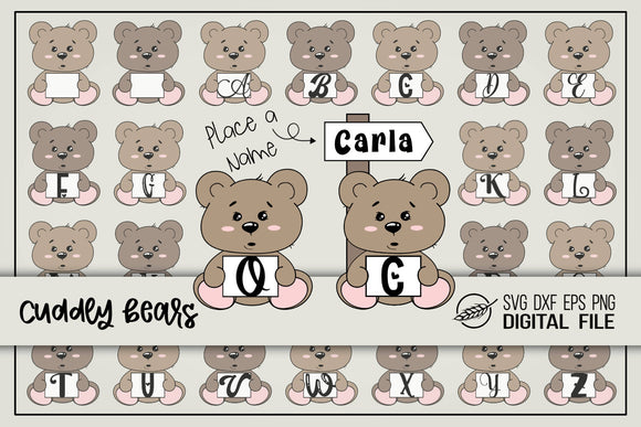 Cuddly bear alphabet baby birth announcement