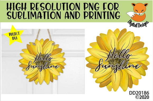 Hello Sunshine Sunflower Sublimation Design
