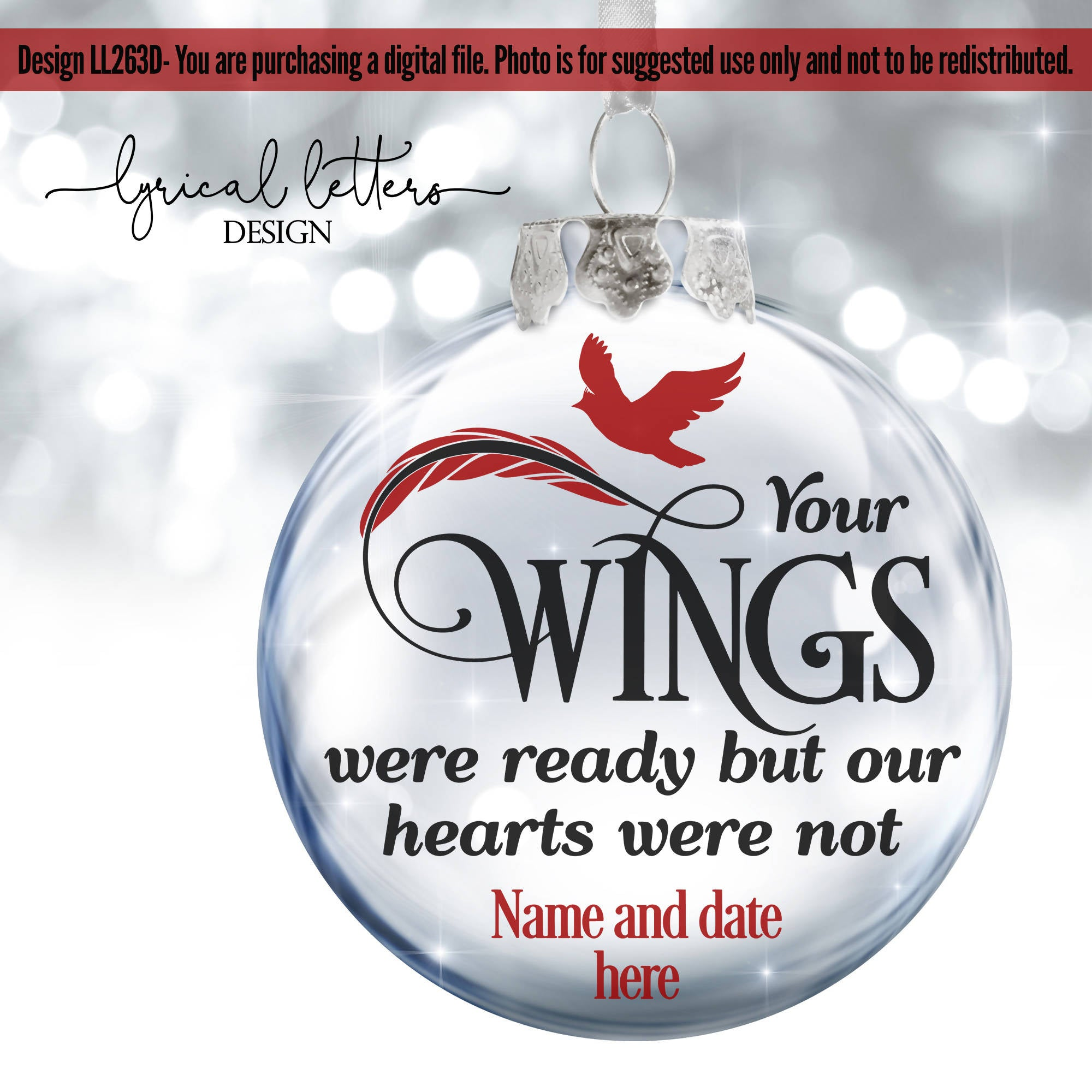 Your Wings Were Ready Cardinal Christmas SVG Cut File