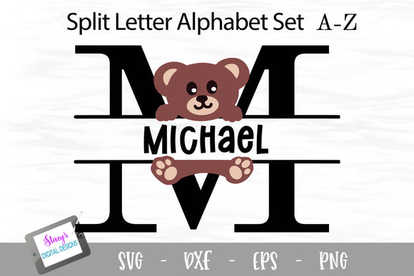 Teddy Bear Split Letters A - Z - 26 Split Monogram SVG Files