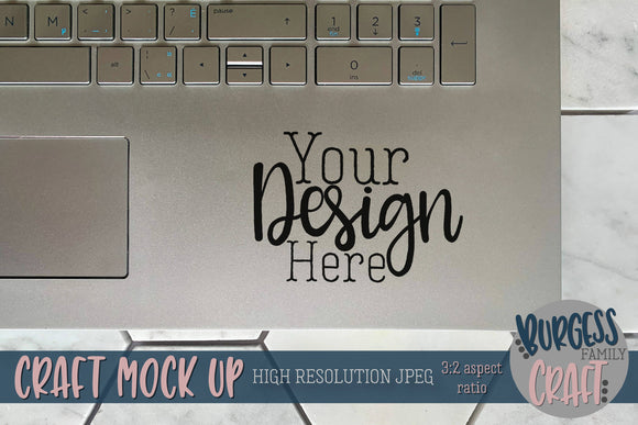 Laptop decal on hexagons IV | Craft mock up