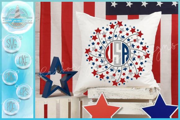 Hand Drawn Stars Fireworks USA Mandala SVG Bundle | Half | Split Frame | Monogram