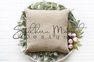 FARMHOUSE PILLOW DIGITAL MOCK UP STOCK PHOTOGRAPHY