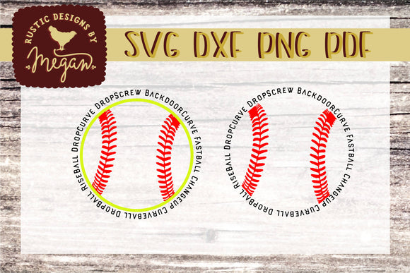 Softball Pitches Sports round SVG DXF Comm Cut file