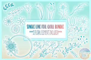 Foil Quill Single Line Floral Element Bundle SVG