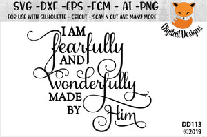 Fearfully and Wonderfully Made Bible Quote SVG