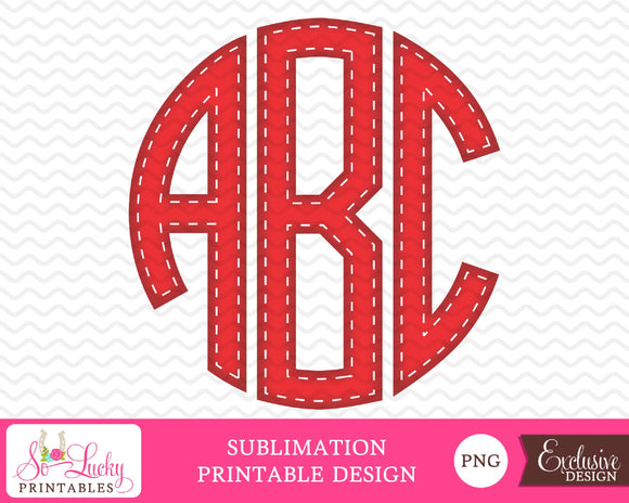 Circle Monogram red with white stitching alphabet set watercolor printable sublimation design - Digital download - PNG - Printable graphic design