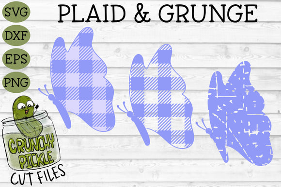Copy of Plaid & Grunge Butterfly 2 SVG Cut File