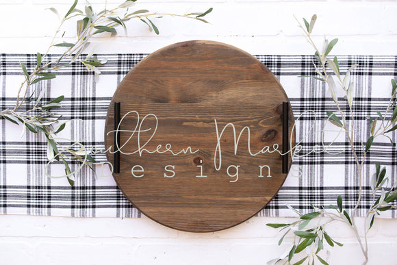 WOOD ROUND TRAY SIGN FARMHOUSE DIGITAL MOCK UP STOCK PHOTOGRAPHY